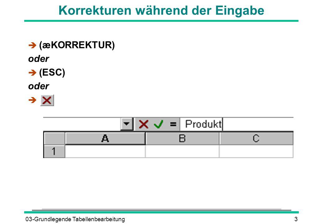 03-Grundlegende Tabellenbearbeitung3 Korrekturen während der Eingabe  (æKORREKTUR) oder  (ESC) oder è