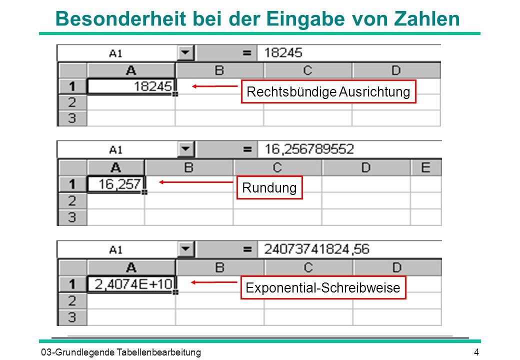 03-Grundlegende Tabellenbearbeitung4 Besonderheit bei der Eingabe von Zahlen Exponential-Schreibweise Rundung Rechtsbündige Ausrichtung