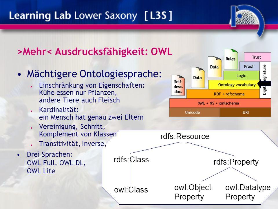 >Mehr< Ausdrucksfähigkeit: OWL Mächtigere Ontologiesprache: ● Einschränkung von Eigenschaften: Kühe essen nur Pflanzen, andere Tiere auch Fleisch ● Ka