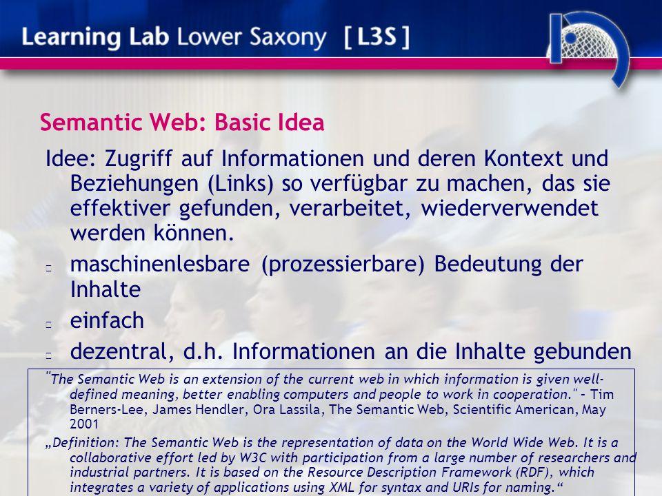 Semantic Web: Basic Idea Idee: Zugriff auf Informationen und deren Kontext und Beziehungen (Links) so verfügbar zu machen, das sie effektiver gefunden