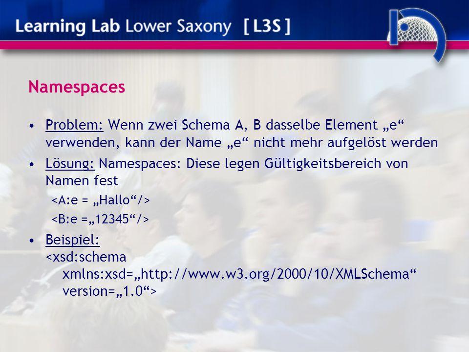 """Namespaces Problem: Wenn zwei Schema A, B dasselbe Element """"e"""" verwenden, kann der Name """"e"""" nicht mehr aufgelöst werden Lösung: Namespaces: Diese lege"""