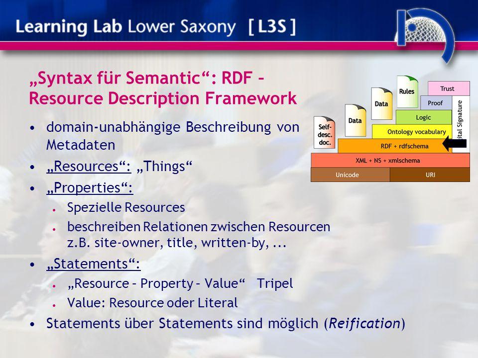 """""""Syntax für Semantic"""": RDF – Resource Description Framework domain-unabhängige Beschreibung von Metadaten """"Resources"""": """"Things"""" """"Properties"""": ● Spezie"""