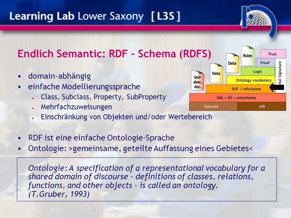 Endlich Semantic: RDF – Schema (RDFS) domain-abhängig einfache Modellierungssprache ● Class, Subclass, Property, SubProperty ● Mehrfachzuweisungen ● E