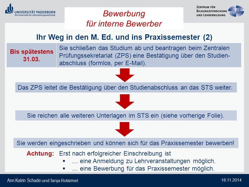 Ann Katrin Schade und Tanja Rotärmel 18.11.2014 Ihr Weg in den M. Ed. und ins Praxissemester (2) Das ZPS leitet die Bestätigung über den Studienabschl
