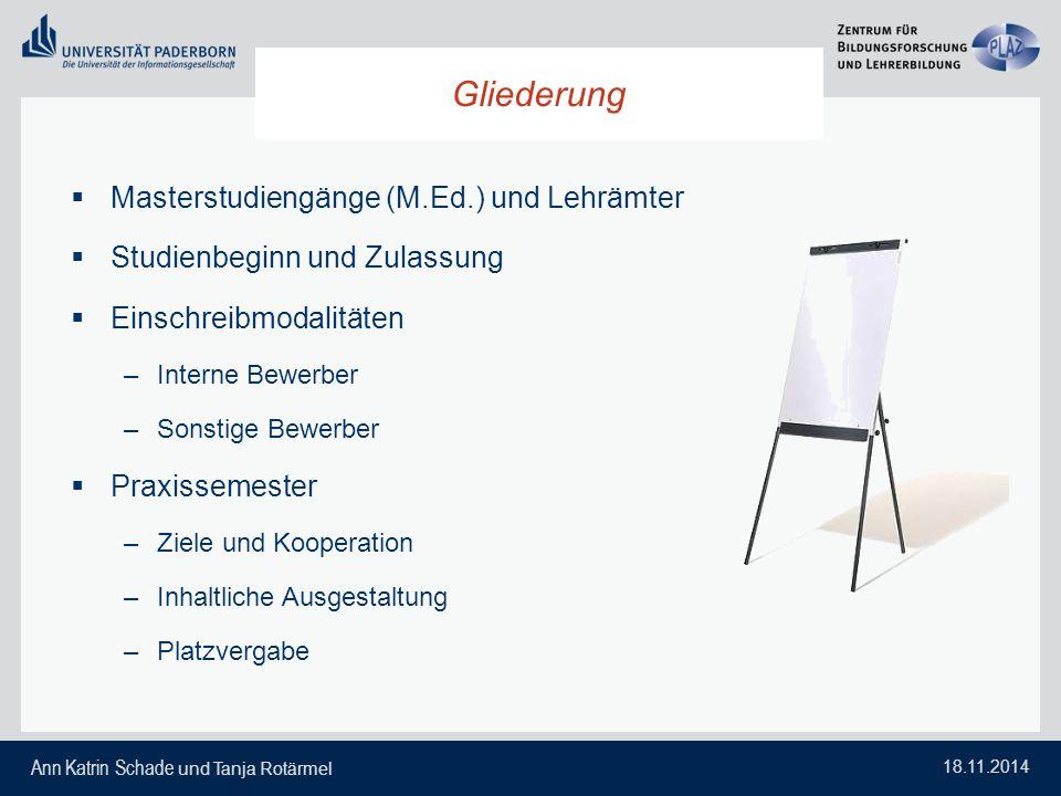 Ann Katrin Schade und Tanja Rotärmel 18.11.2014 Gliederung  Masterstudiengänge (M.Ed.) und Lehrämter  Studienbeginn und Zulassung  Einschreibmodali