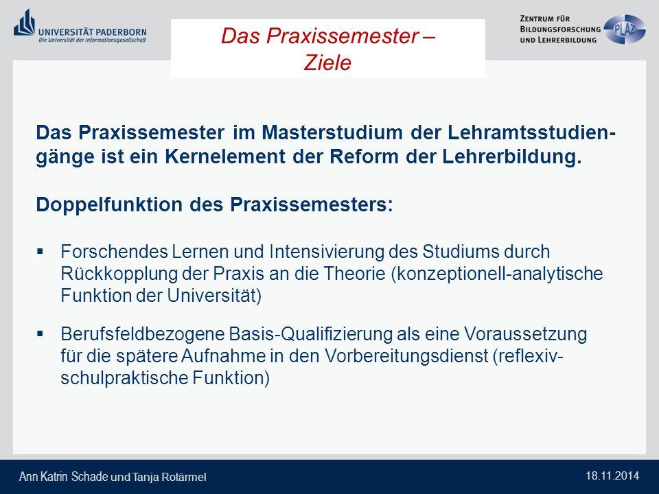 Ann Katrin Schade und Tanja Rotärmel 18.11.2014 Das Praxissemester – Ziele Das Praxissemester im Masterstudium der Lehramtsstudien- gänge ist ein Kern