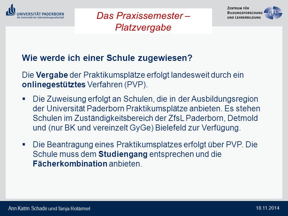 Ann Katrin Schade und Tanja Rotärmel 18.11.2014 Das Praxissemester – Platzvergabe Wie werde ich einer Schule zugewiesen? Die Vergabe der Praktikumsplä