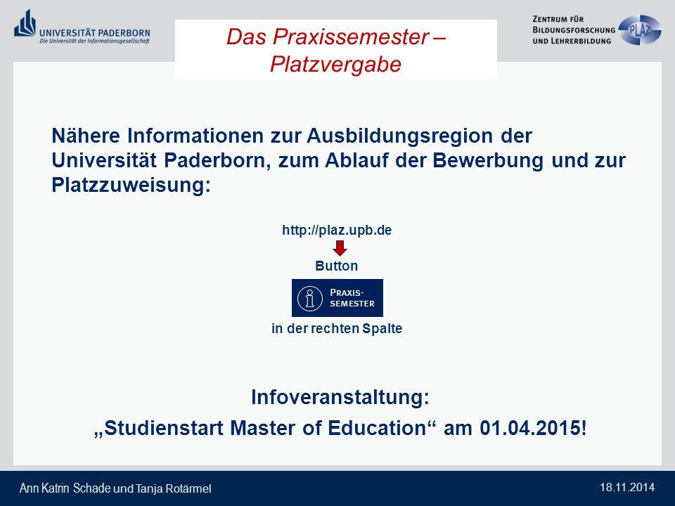 Ann Katrin Schade und Tanja Rotärmel 18.11.2014 Das Praxissemester – Platzvergabe Nähere Informationen zur Ausbildungsregion der Universität Paderborn