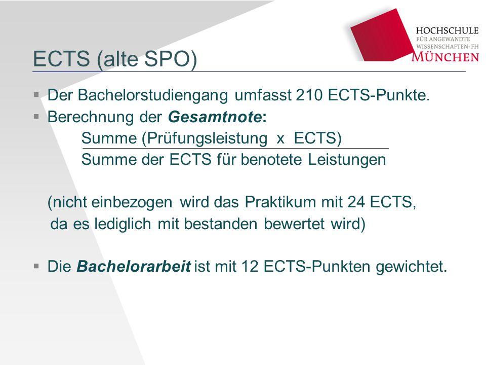 ECTS (alte SPO)  Der Bachelorstudiengang umfasst 210 ECTS-Punkte.  Berechnung der Gesamtnote: Summe (Prüfungsleistung x ECTS) Summe der ECTS für ben