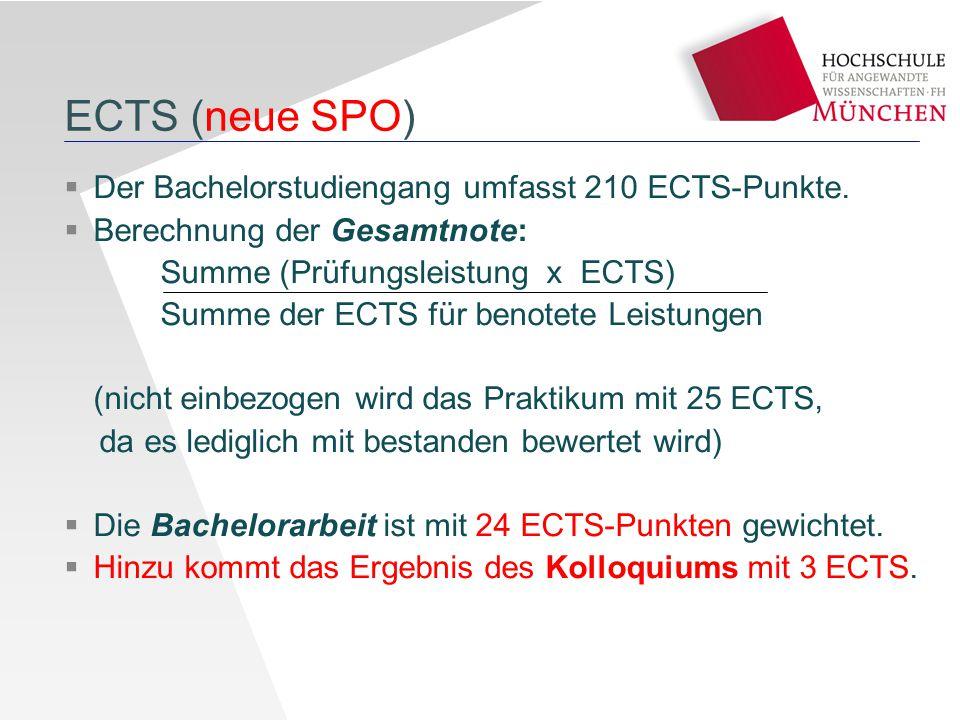 ECTS (neue SPO)  Der Bachelorstudiengang umfasst 210 ECTS-Punkte.  Berechnung der Gesamtnote: Summe (Prüfungsleistung x ECTS) Summe der ECTS für ben