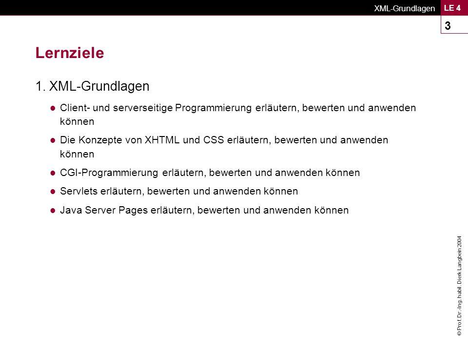 © Prof. Dr.-Ing. habil. Dierk Langbein 2004 XML-Grundlagen LE 4 3 Lernziele 1.