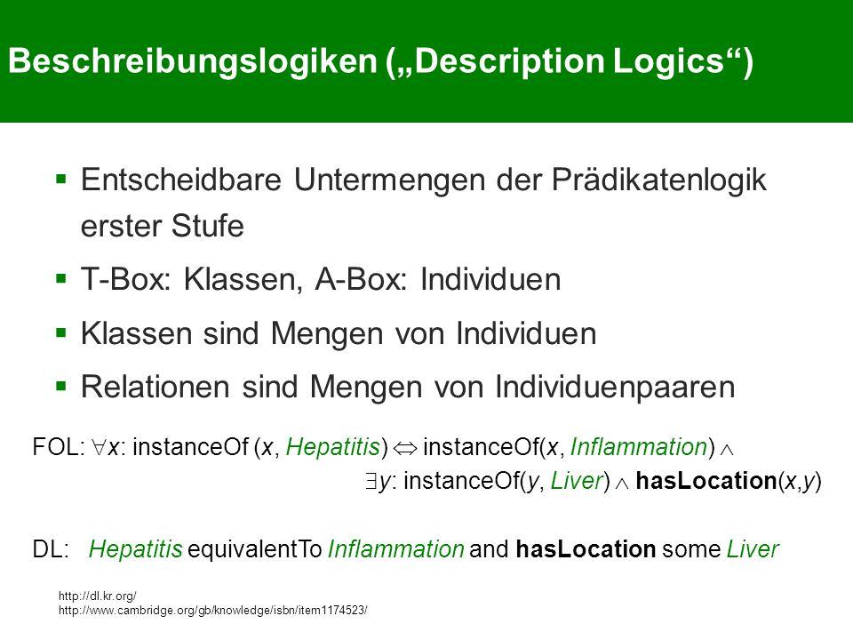 "Beschreibungslogiken (""Description Logics )  Entscheidbare Untermengen der Prädikatenlogik erster Stufe  T-Box: Klassen, A-Box: Individuen  Klassen sind Mengen von Individuen  Relationen sind Mengen von Individuenpaaren http://dl.kr.org/ http://www.cambridge.org/gb/knowledge/isbn/item1174523/ FOL:  x: instanceOf (x, Hepatitis)  instanceOf(x, Inflammation)   y: instanceOf(y, Liver)  hasLocation(x,y) DL: Hepatitis equivalentTo Inflammation and hasLocation some Liver"
