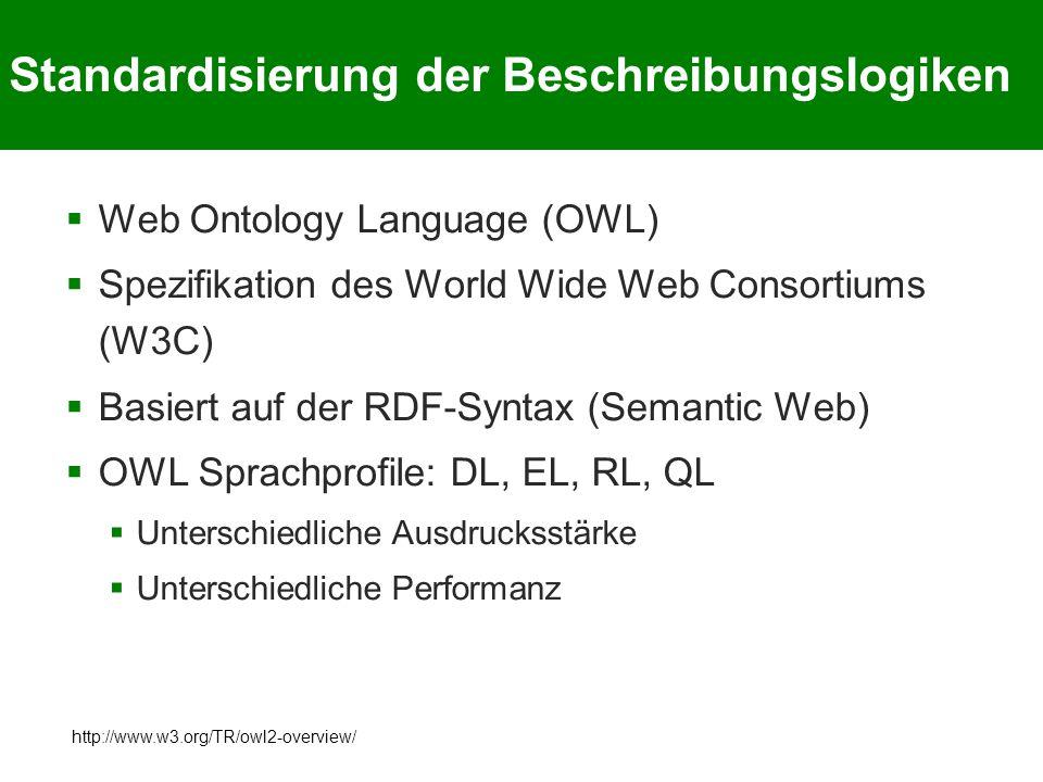 Standardisierung der Beschreibungslogiken  Web Ontology Language (OWL)  Spezifikation des World Wide Web Consortiums (W3C)  Basiert auf der RDF-Syntax (Semantic Web)  OWL Sprachprofile: DL, EL, RL, QL  Unterschiedliche Ausdrucksstärke  Unterschiedliche Performanz http://www.w3.org/TR/owl2-overview/