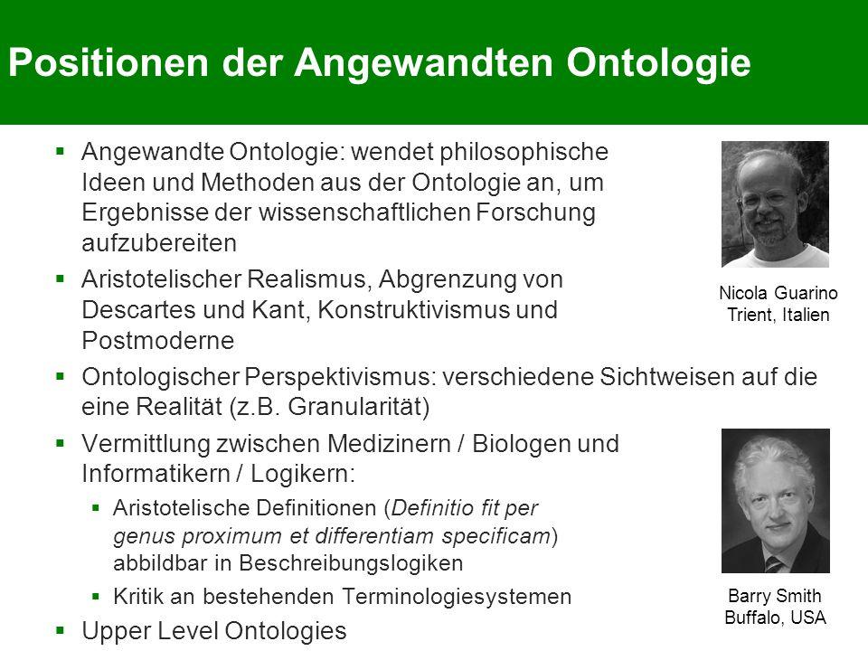 Positionen der Angewandten Ontologie  Angewandte Ontologie: wendet philosophische Ideen und Methoden aus der Ontologie an, um Ergebnisse der wissensc