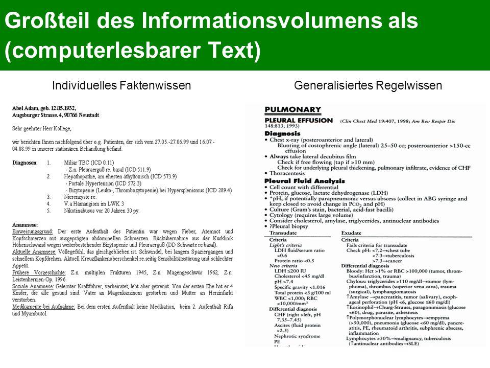 Großteil des Informationsvolumens als (computerlesbarer Text) Individuelles FaktenwissenGeneralisiertes Regelwissen