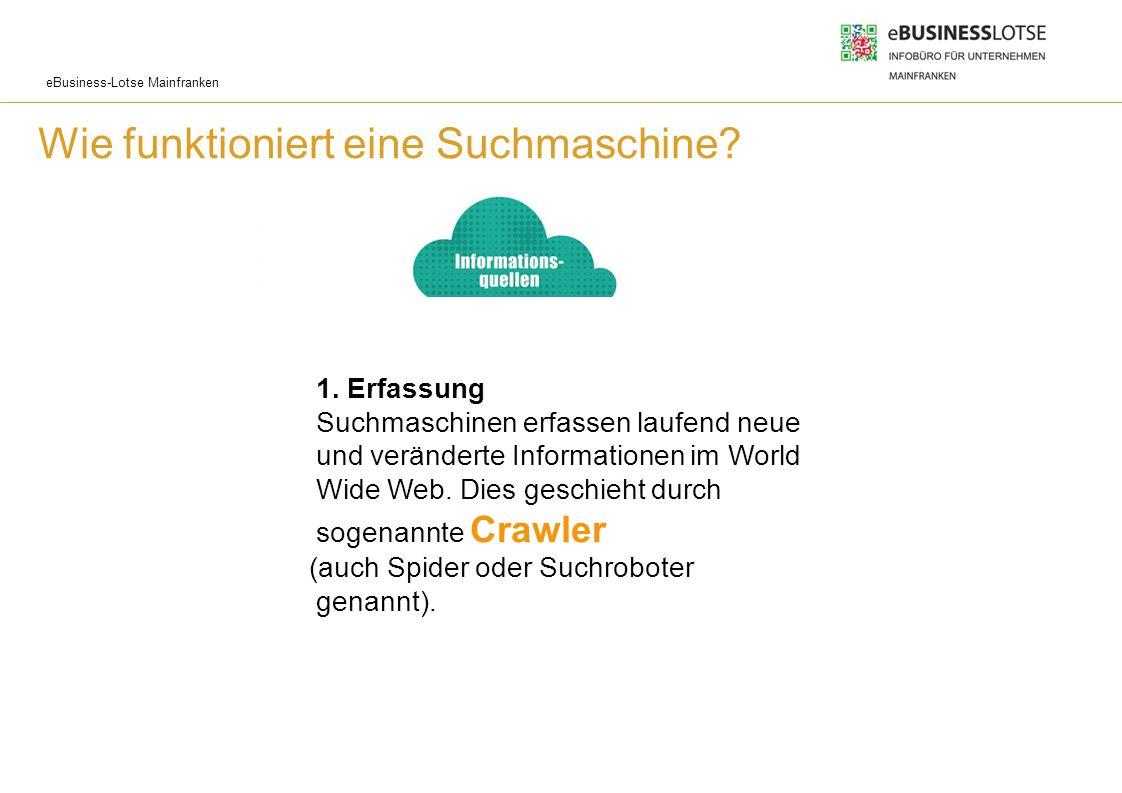 eBusiness-Lotse Mainfranken Wie funktioniert eine Suchmaschine? 1. Erfassung Suchmaschinen erfassen laufend neue und veränderte Informationen im World