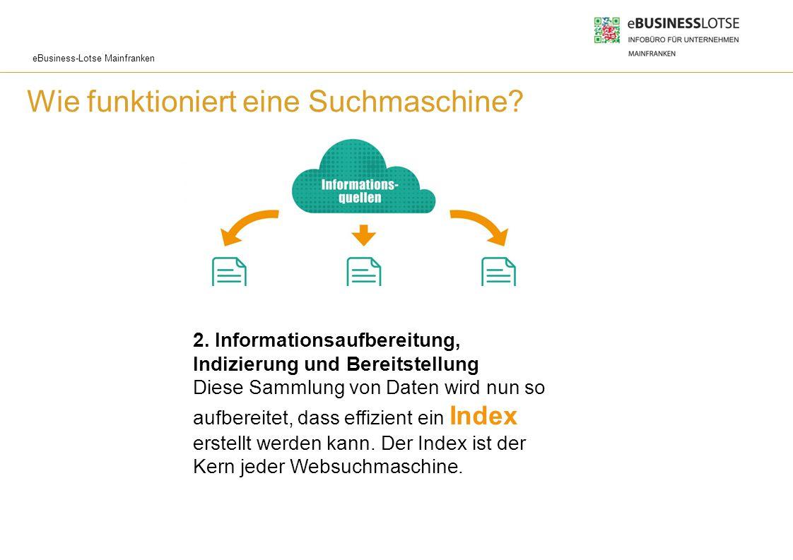 eBusiness-Lotse Mainfranken Wie funktioniert eine Suchmaschine? 2. Informationsaufbereitung, Indizierung und Bereitstellung Diese Sammlung von Daten w