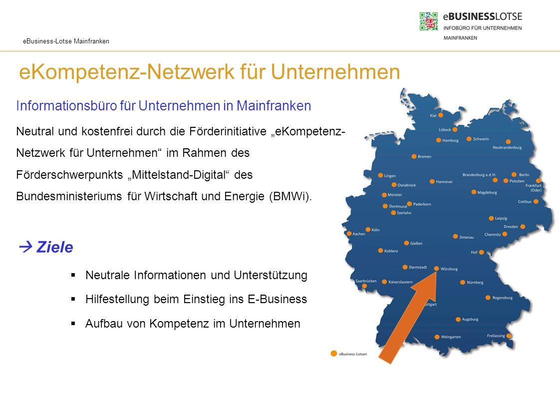 eBusiness-Lotse Mainfranken eKompetenz-Netzwerk für Unternehmen Informationsbüro für Unternehmen in Mainfranken Neutral und kostenfrei durch die Förde