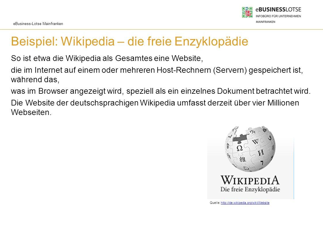 eBusiness-Lotse Mainfranken Beispiel: Wikipedia – die freie Enzyklopädie So ist etwa die Wikipedia als Gesamtes eine Website, die im Internet auf eine