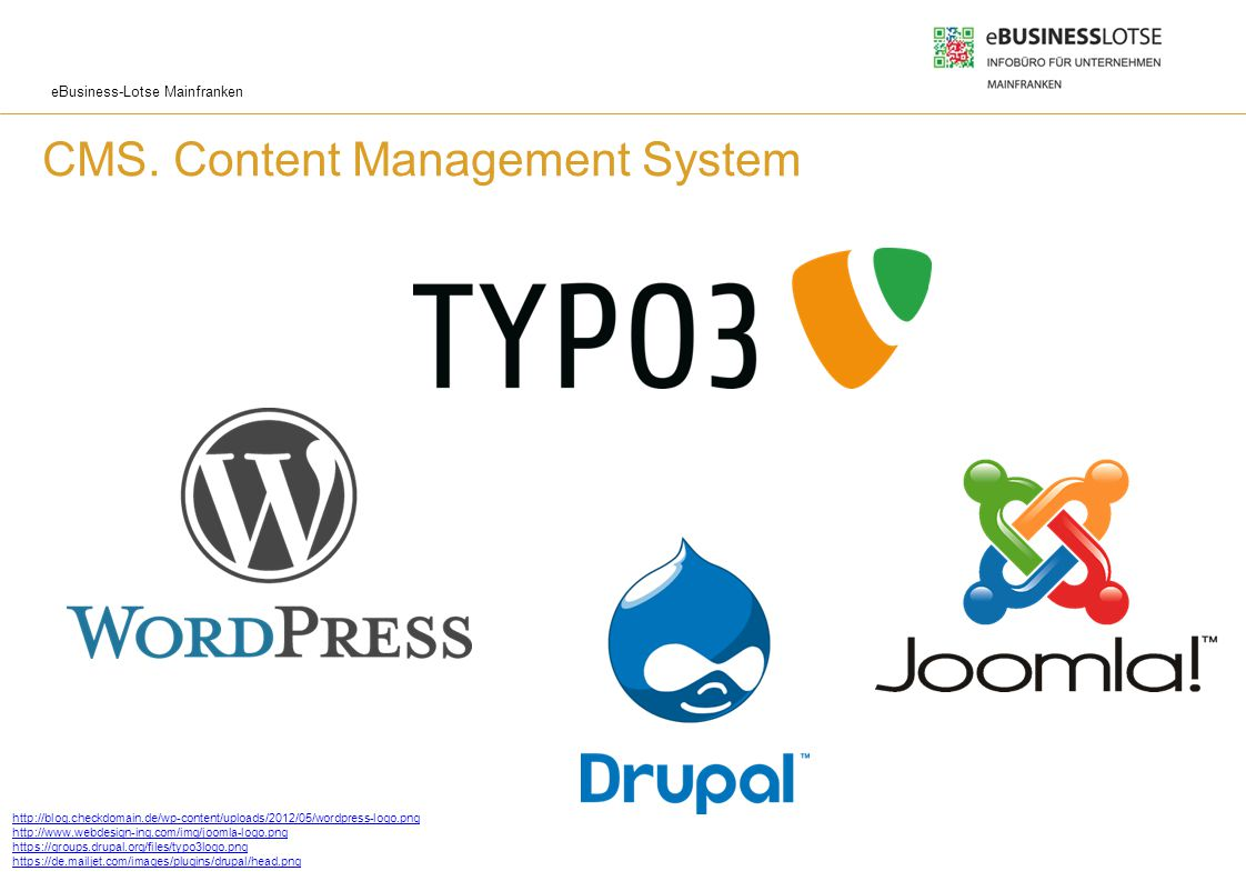 eBusiness-Lotse Mainfranken CMS. Content Management System Website mit Datenbankanschluss Inhaltsverwaltung (Text und Medien) Administrationssystem mi