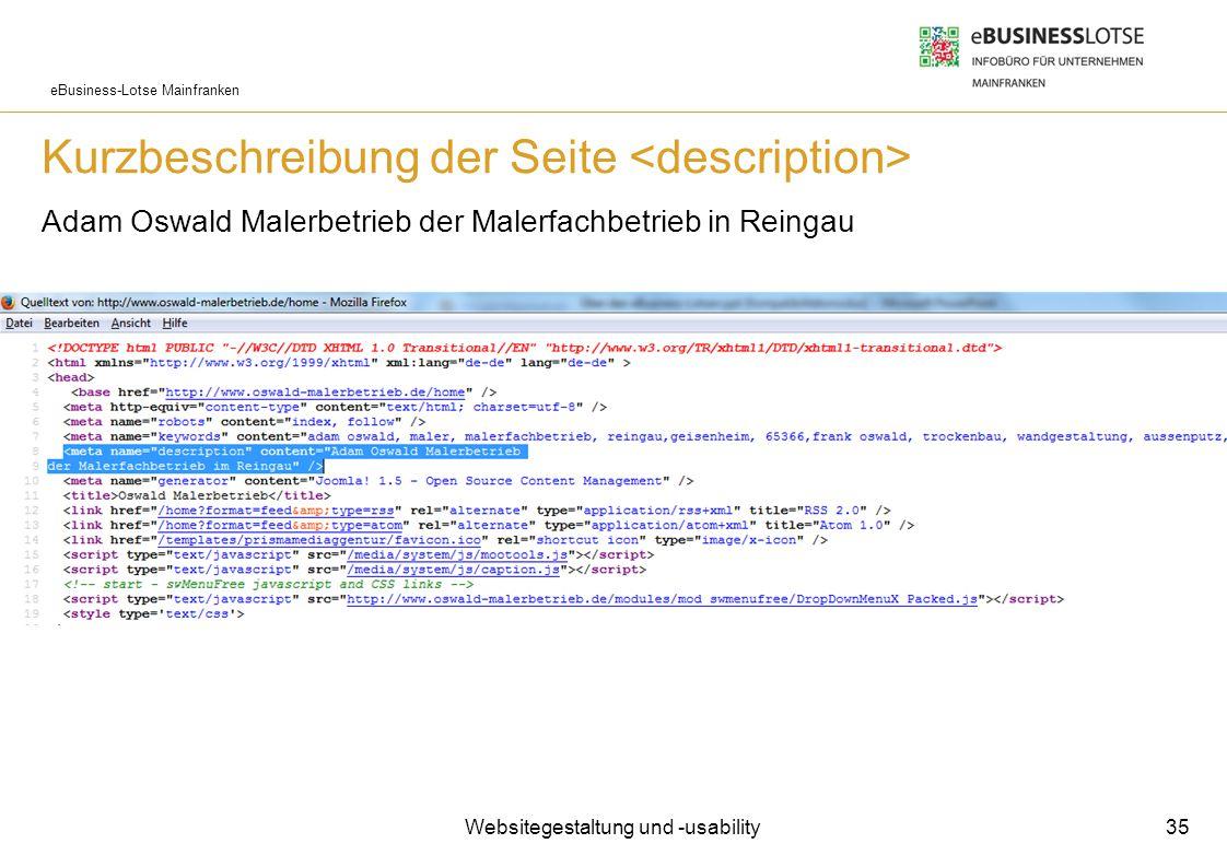 eBusiness-Lotse Mainfranken Kurzbeschreibung der Seite Adam Oswald Malerbetrieb der Malerfachbetrieb in Reingau Websitegestaltung und -usability 35