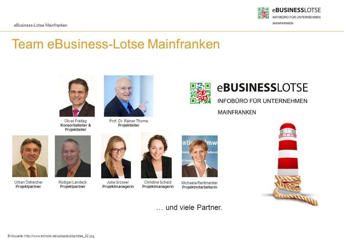 eBusiness-Lotse Mainfranken Team eBusiness-Lotse Mainfranken … und viele Partner. Oliver Freitag Konsortialleiter & Projektleiter Rüdiger Landeck Proj