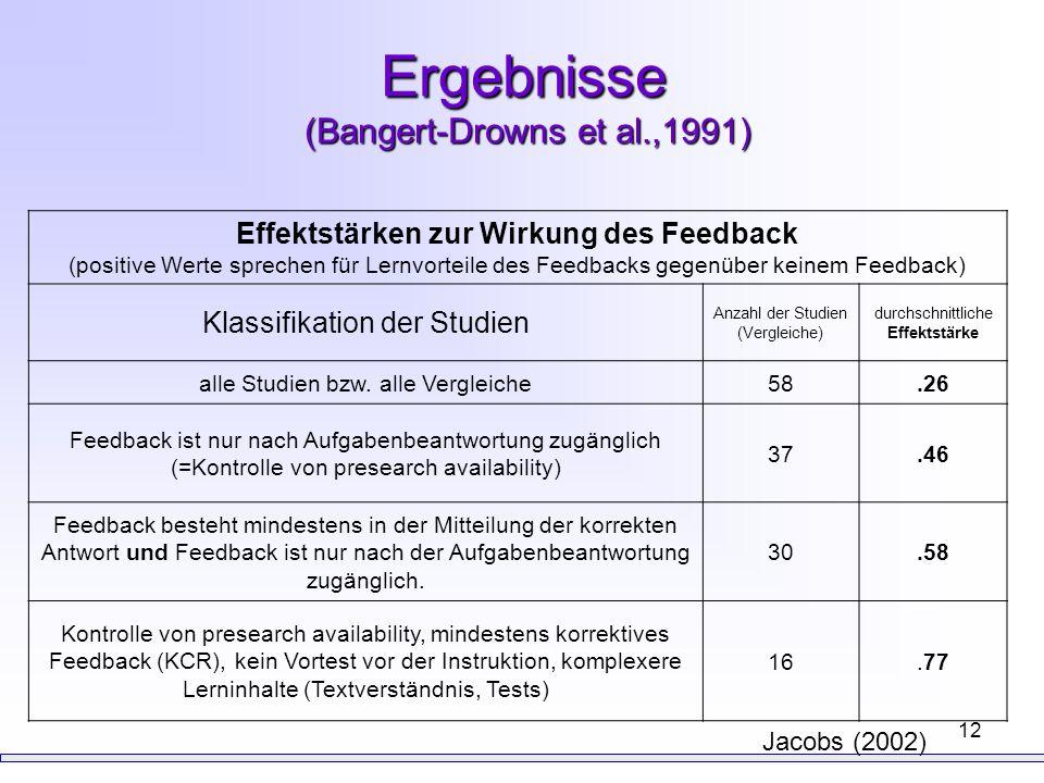12 Ergebnisse (Bangert-Drowns et al.,1991) Effektstärken zur Wirkung des Feedback (positive Werte sprechen für Lernvorteile des Feedbacks gegenüber ke