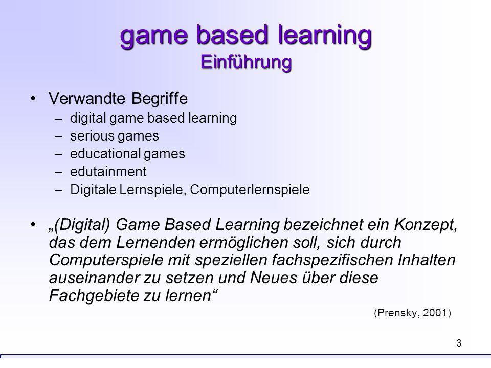 3 game based learning Einführung Verwandte Begriffe –digital game based learning –serious games –educational games –edutainment –Digitale Lernspiele,