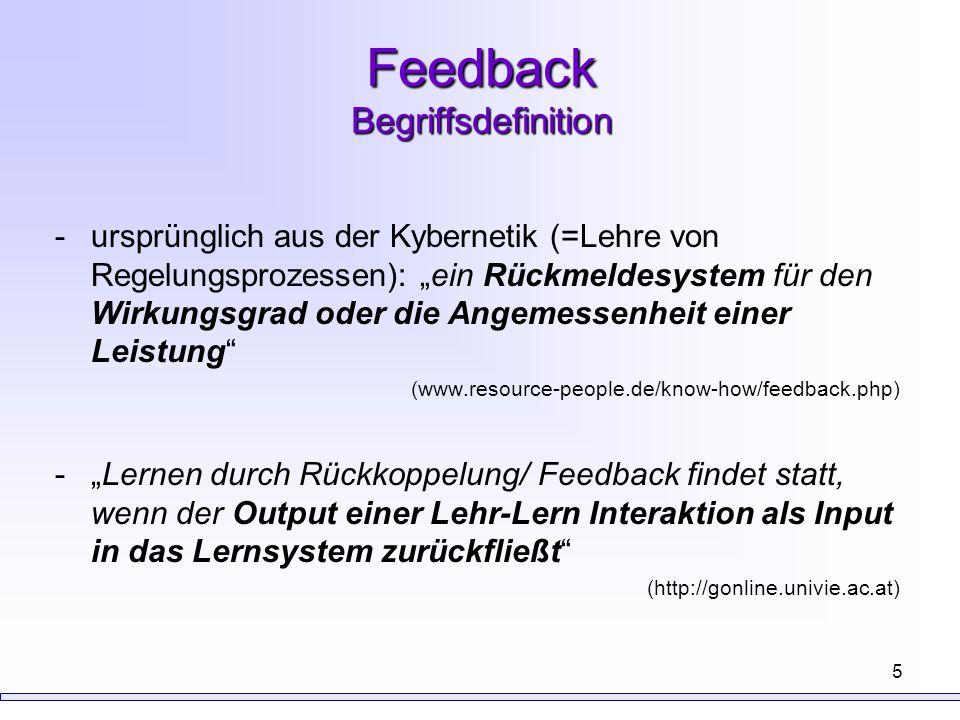 """6 Feedback didaktische Funktion in Hinblick auf die Korrektheit der Aufgabenbeantwortung -""""Richtige Antworten sollen bestätigt und der zutreffende Lösungsweg gefestigt und stabilisiert werden, so dass die Wahrscheinlichkeit, die Aufgabe erneut richtig lösen zu können, zunimmt. -""""Falsche Antworten sollen als falsch erkannt werden und durch die richtige Antwort ersetzt werden (Kulvary & Stock, 1989; in Jakobs, 2002) drei Definitionen von FB (""""feedback triad ) -Motivator -Verstärker -Fehlerrückmeldung (Kulhavy & Wagner, 1993; in Mory, 2004)"""
