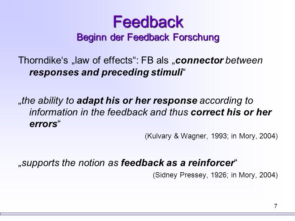 8 Feedback Klassifikation wichtigste Differenzierungen -no feedback -KOR bzw.