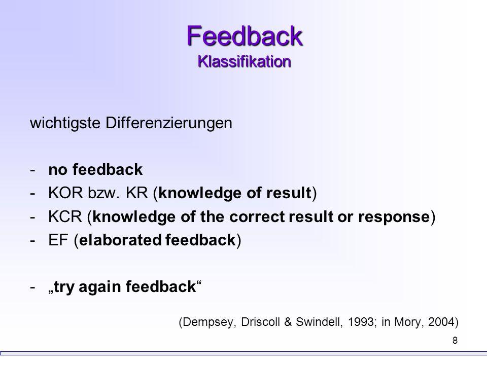 "9 Feedback Formen ""hoher Feedback-Informationsgehalt vs."
