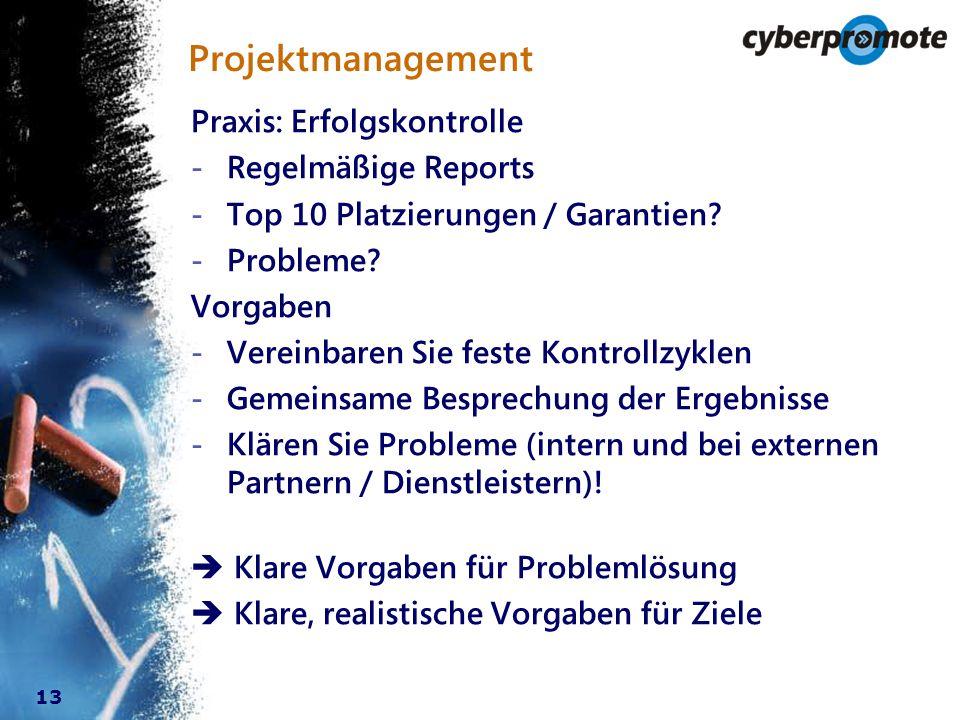 13 Praxis: Erfolgskontrolle - Regelmäßige Reports - Top 10 Platzierungen / Garantien.