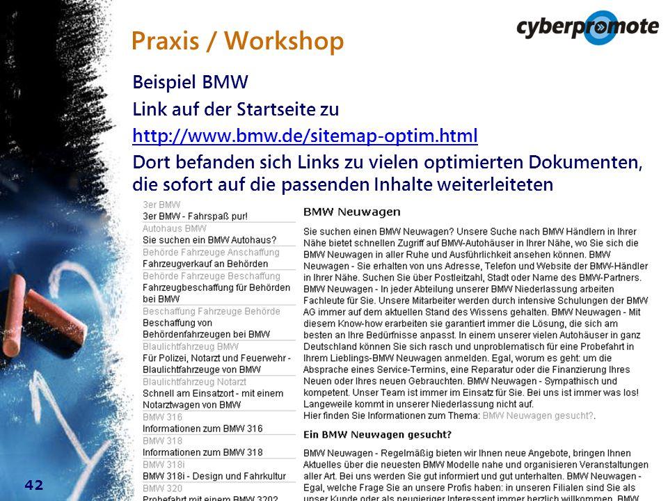 42 Praxis / Workshop Beispiel BMW Link auf der Startseite zu http://www.bmw.de/sitemap-optim.html Dort befanden sich Links zu vielen optimierten Dokumenten, die sofort auf die passenden Inhalte weiterleiteten
