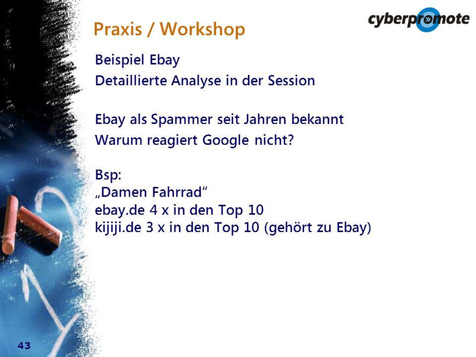 43 Praxis / Workshop Beispiel Ebay Detaillierte Analyse in der Session Ebay als Spammer seit Jahren bekannt Warum reagiert Google nicht.