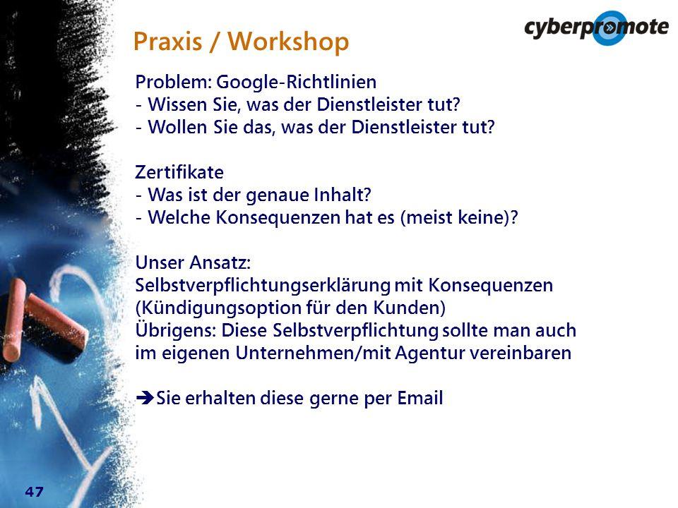 47 Praxis / Workshop Problem: Google-Richtlinien - Wissen Sie, was der Dienstleister tut.