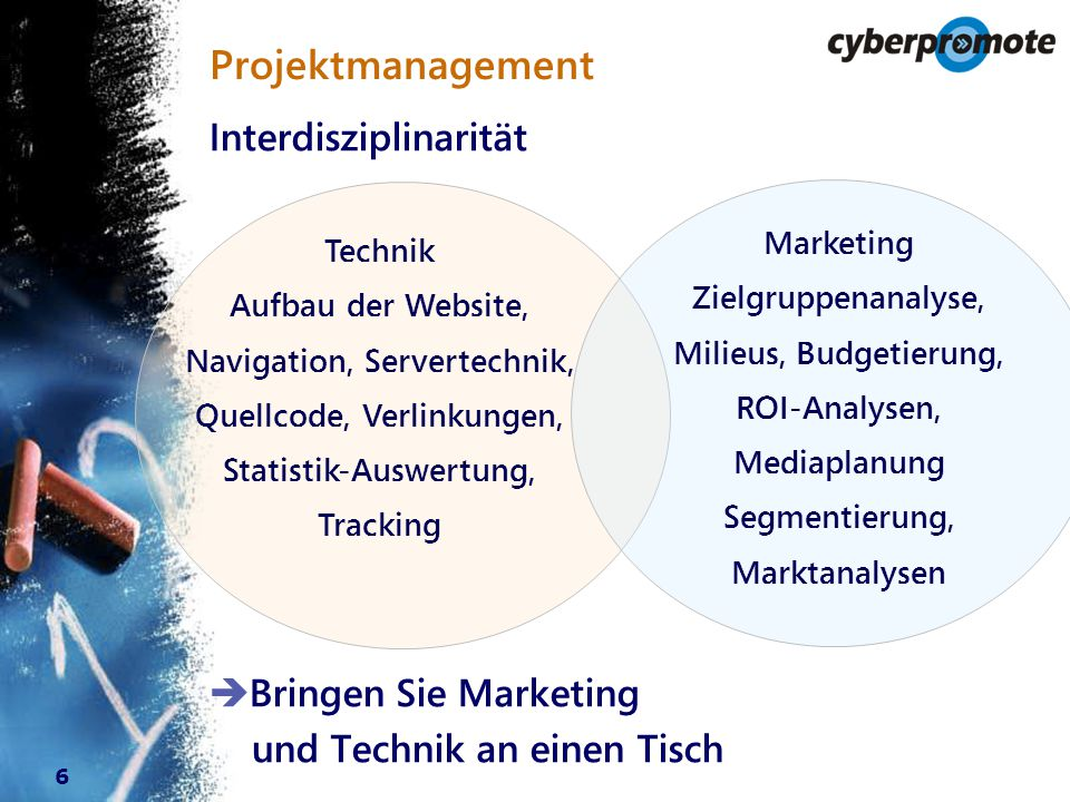 6 Projektmanagement Technik Aufbau der Website, Navigation, Servertechnik, Quellcode, Verlinkungen, Statistik-Auswertung, Tracking Marketing Zielgruppenanalyse, Milieus, Budgetierung, ROI-Analysen, Mediaplanung Segmentierung, Marktanalysen Interdisziplinarität  Bringen Sie Marketing und Technik an einen Tisch