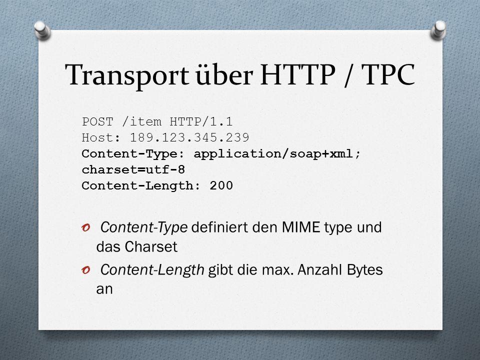 Transport über HTTP / TPC POST /item HTTP/1.1 Host: 189.123.345.239 Content-Type: application/soap+xml; charset=utf-8 Content-Length: 200 o Content-Type definiert den MIME type und das Charset o Content-Length gibt die max.