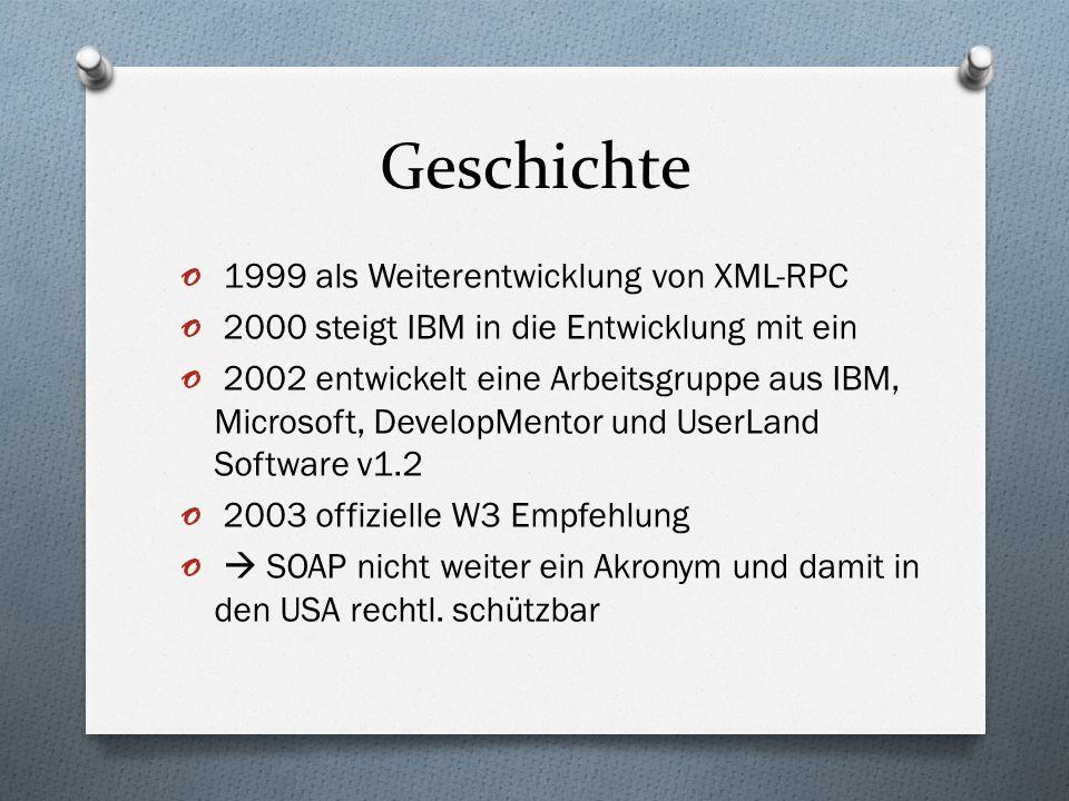 Geschichte o 1999 als Weiterentwicklung von XML-RPC o 2000 steigt IBM in die Entwicklung mit ein o 2002 entwickelt eine Arbeitsgruppe aus IBM, Microso