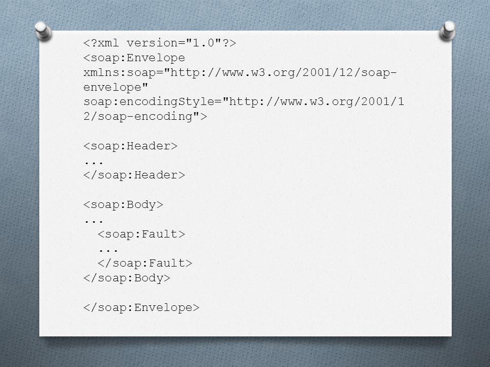 """Syntax und Struktur o Envelope: o """"xmlns:soap  Namespace, Adresse muss wie folgt lauten: """" http://www.w3.org/2001/12/soap- envelope o """"soap:encodingStyle  muss ein URI sein, definiert die verwendeten Datentypen"""