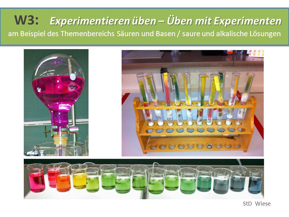 Experimentieren üben – Üben mit Experimenten W3 : Experimentieren üben – Üben mit Experimenten am Beispiel des Themenbereichs Säuren und Basen / saure