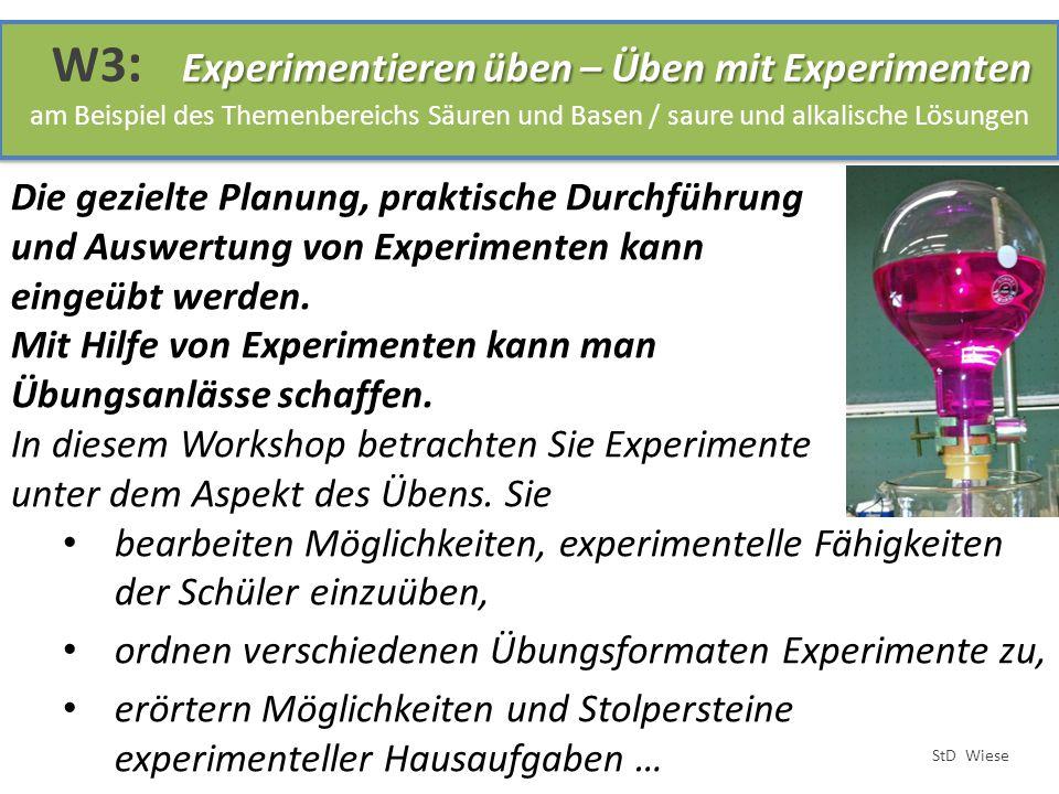 Die gezielte Planung, praktische Durchführung und Auswertung von Experimenten kann eingeübt werden. Mit Hilfe von Experimenten kann man Übungsanlässe