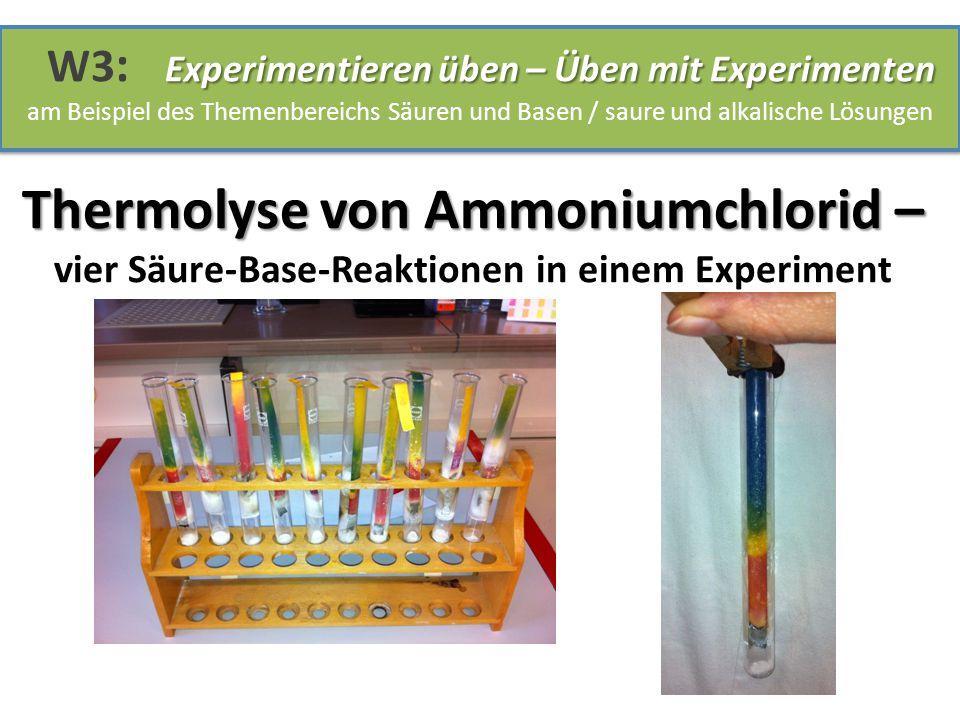 Thermolyse von Ammoniumchlorid – Thermolyse von Ammoniumchlorid – vier Säure-Base-Reaktionen in einem Experiment Experimentieren üben – Üben mit Exper