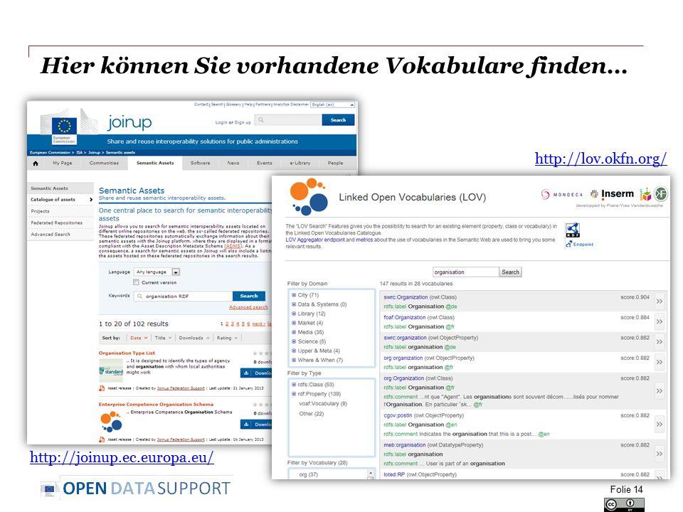 Hier können Sie vorhandene Vokabulare finden… Folie 14 http://joinup.ec.europa.eu/ http://lov.okfn.org/