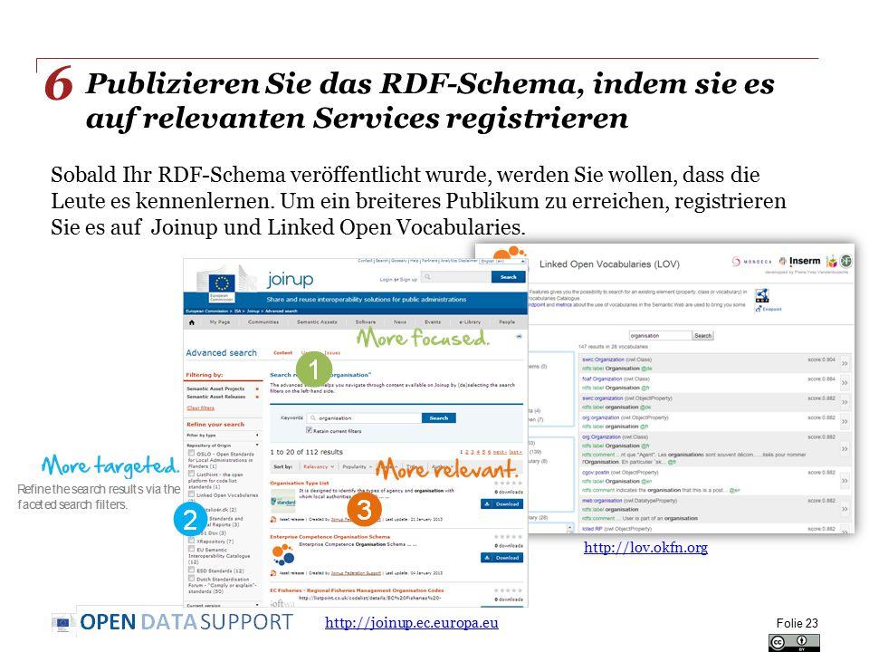 Publizieren Sie das RDF-Schema, indem sie es auf relevanten Services registrieren Sobald Ihr RDF-Schema veröffentlicht wurde, werden Sie wollen, dass die Leute es kennenlernen.