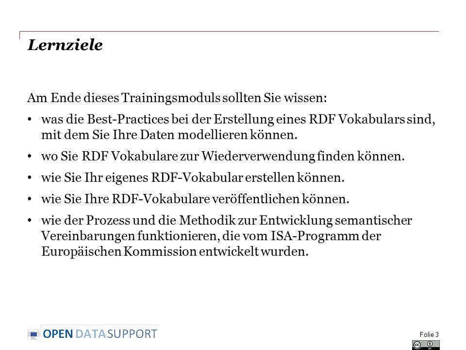 Lernziele Am Ende dieses Trainingsmoduls sollten Sie wissen: was die Best-Practices bei der Erstellung eines RDF Vokabulars sind, mit dem Sie Ihre Dat