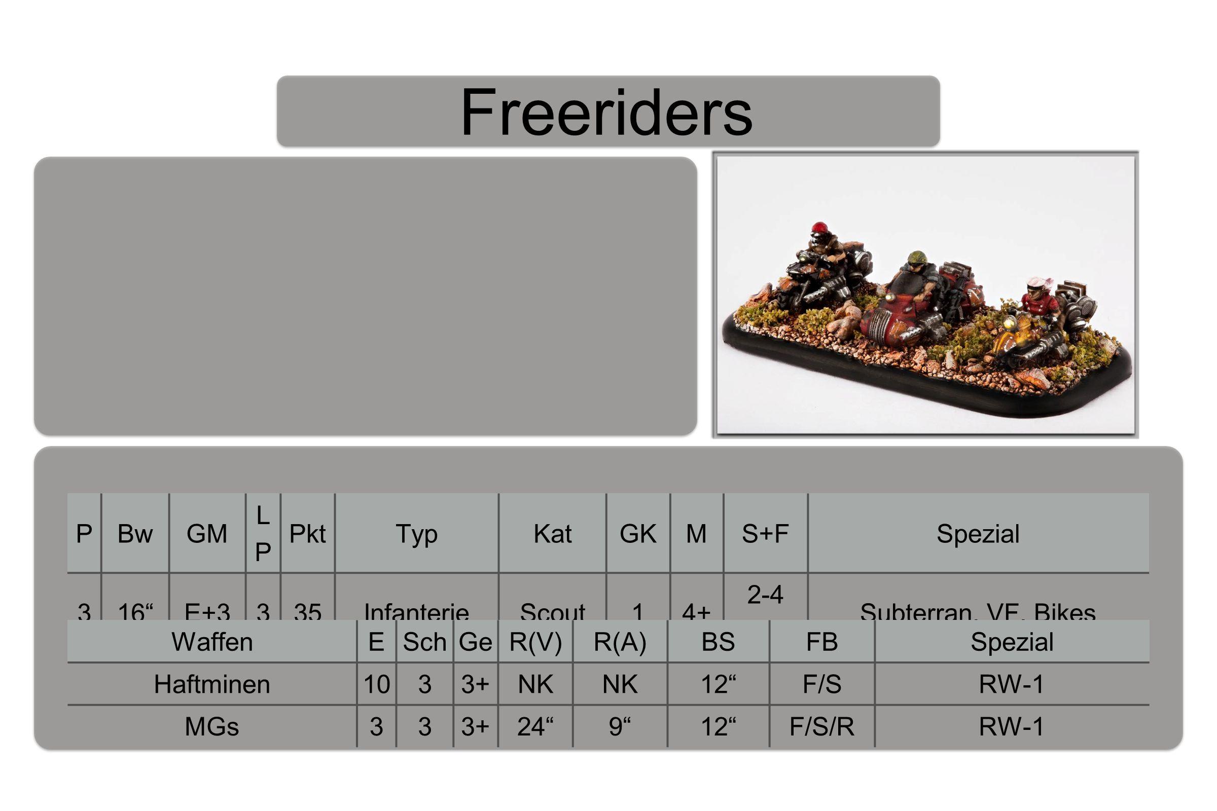 Freeriders PBwGM LPLP PktTypKatGKMS+FSpezial 316 E+3335InfanterieScout14+ 2-4 BaB Subterran, VF, Bikes WaffenESchGeR(V)R(A)BSFBSpezial Haftminen1033+NK 12 F/SRW-1 MGs333+24 9 12 F/S/RRW-1