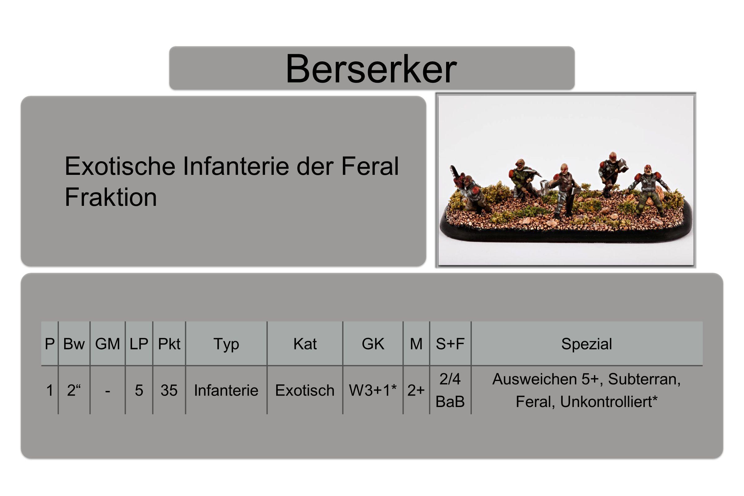 Berserker PBwGMLPPktTypKatGKMS+FSpezial 12 -535InfanterieExotischW3+1*2+ 2/4 BaB Ausweichen 5+, Subterran, Feral, Unkontrolliert* Exotische Infanterie der Feral Fraktion