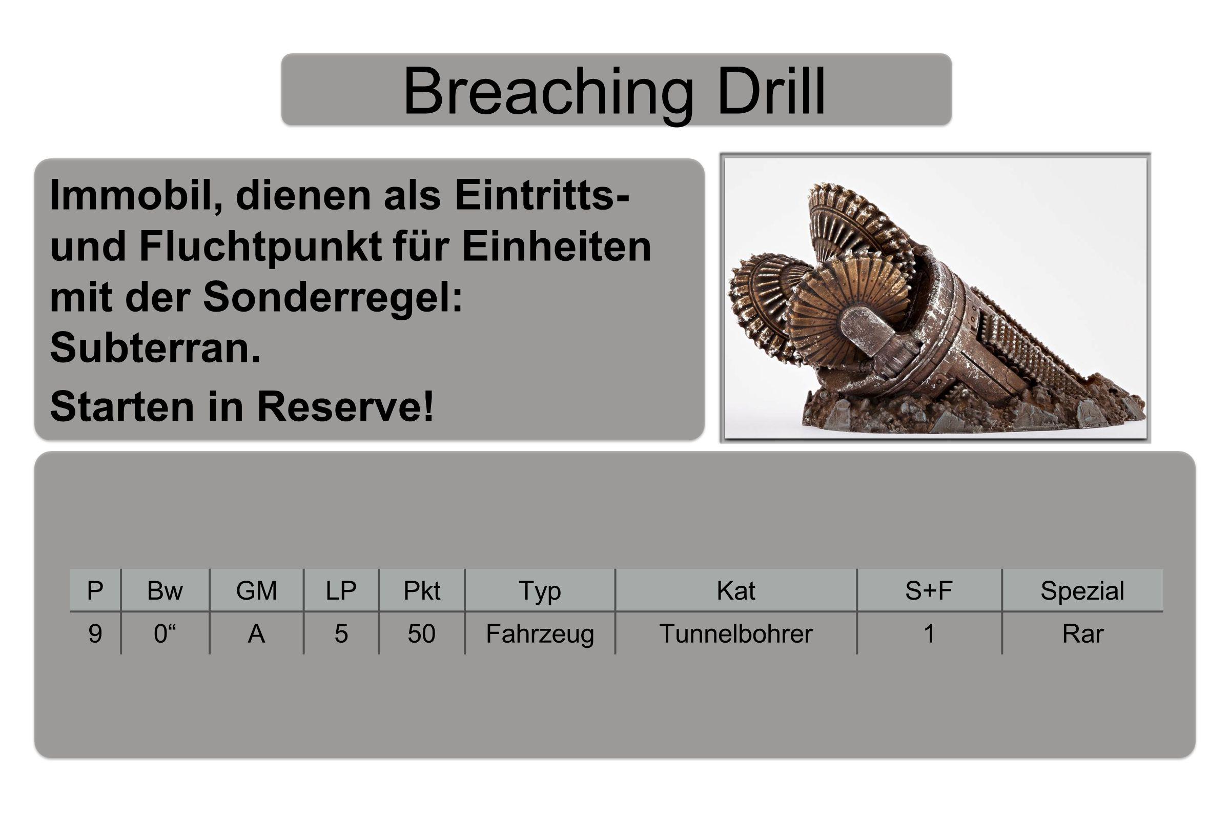 Breaching Drill PBwGMLPPktTypKatS+FSpezial 90 A550FahrzeugTunnelbohrer1Rar Immobil, dienen als Eintritts- und Fluchtpunkt für Einheiten mit der Sonderregel: Subterran.