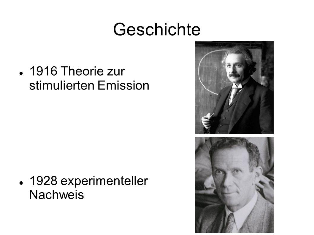 Geschichte 1916 Theorie zur stimulierten Emission 1928 experimenteller Nachweis