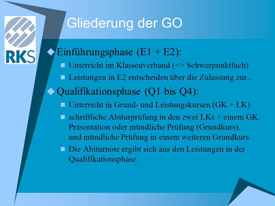 Gliederung der GO  Einführungsphase (E1 + E2): Unterricht im Klassenverband (=> Schwerpunktfach) Leistungen in E2 entscheiden über die Zulassung zur.